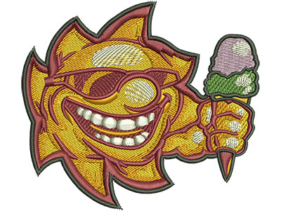 Embroidery Design: Sunshine With Ice Cream Lg 3.54w X 3.15h