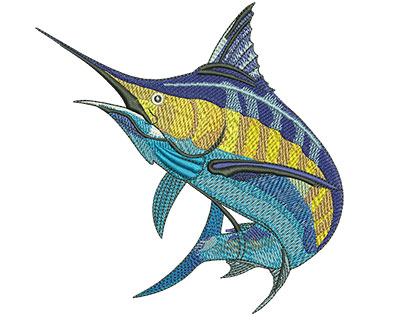 Embroidery Design: Marlin Jump Med 4.84w X 4.98h