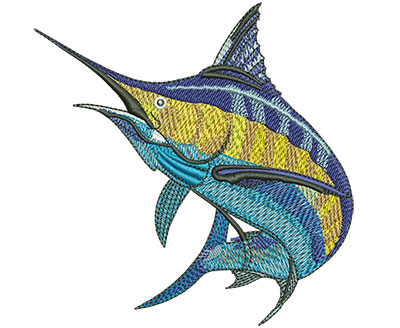 Embroidery Design: Marlin Jump Sm 3.86w X 3.98h