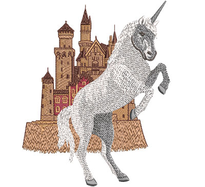 Embroidery Design: Unicorn Castle Lg 4.78w X 6.02h