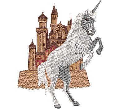 Embroidery Design: Unicorn Castle Med 3.99w X 5.02h