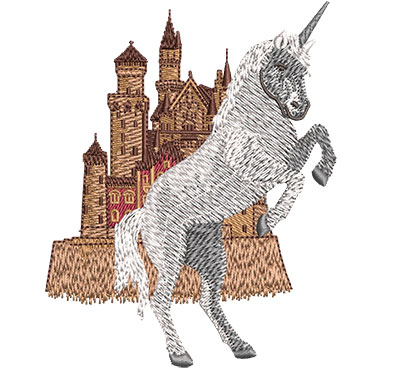 Embroidery Design: Unicorn Castle Sm 3.19w X 4.02h