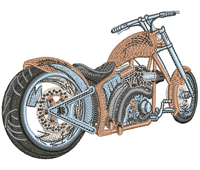 Embroidery Design: Rear View Motorcycle Lg 4.51w X 3.19h