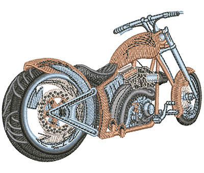 Embroidery Design: Rear View Motorcycle Med 4.01w X 2.84h