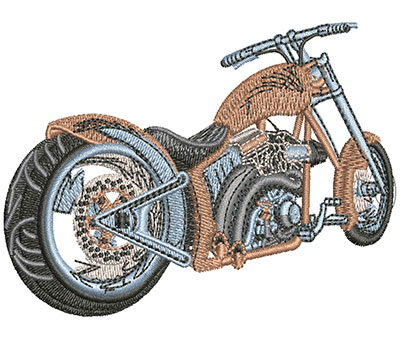 Embroidery Design: Rear View Motorcycle Sm 3.51w X 2.48h