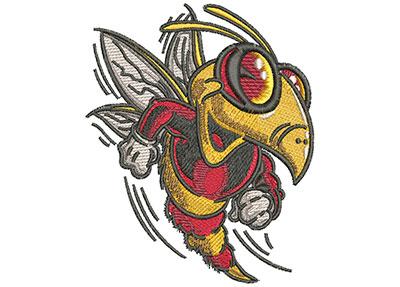 Embroidery Design: Cartoon Bee Mascot Lg 3.48w X 4.00h