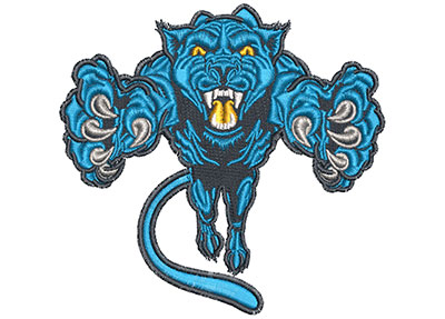 Embroidery Design: Pouncing Cartoon Panther Mascot Lg 4.43w X 3.97h
