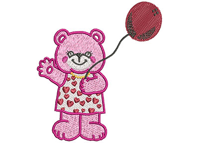 Embroidery Design: Bear With Balloon Med 3.36w X 3.51h