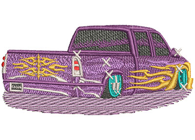 Embroidery Design: Tribal Lowrider Pickup Truck Lg 4.01w X 1.76h