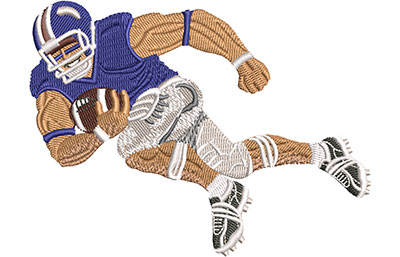 Embroidery Design: Football Player Charging Lg 4.44w X 3.34h