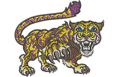 Embroidery Design: Cartoon Jaguar Mascot Lg 4.53w X 3.82h