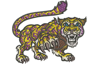 Embroidery Design: Cartoon Jaguar Mascot Med 4.03w X 3.41h