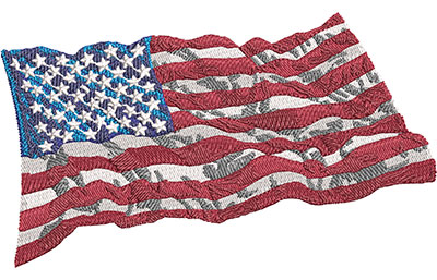 Embroidery Design: Wavy American Flag Med 4.99w X 2.93h