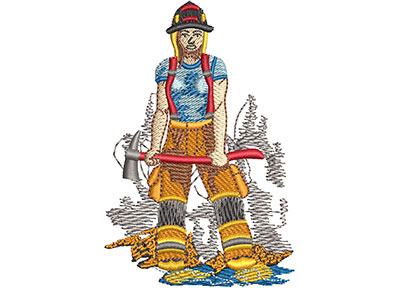 Embroidery Design: Female Firefighter Lg 2.31w X 3.48h