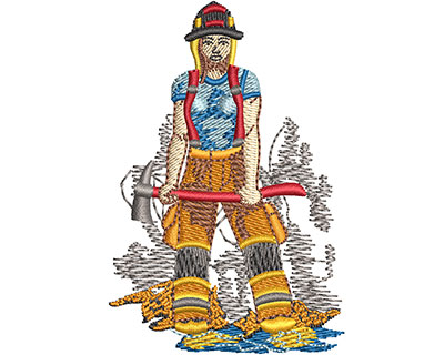 Embroidery Design: Female Firefighter Med 1.99w X 2.98h