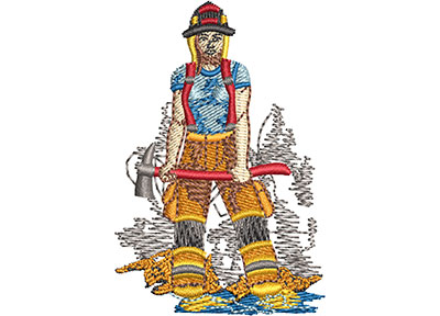 Embroidery Design: Female Firefighter Sm 1.65w X 2.48h