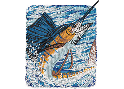 Embroidery Design: Sailfish Catch Lg 4.97w X 5.98h