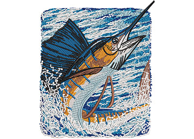 Embroidery Design: Sailfish Catch Med 4.14w X 4.97h