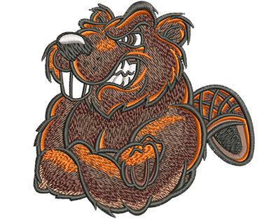 Embroidery Design: Cartoon Beaver Mascot Lg 4.06w X 3.97h