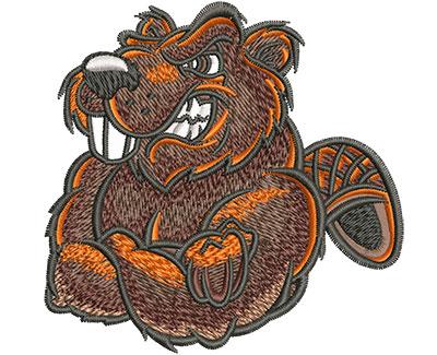 Embroidery Design: Cartoon Beaver Mascot Med 3.56w X 3.48h