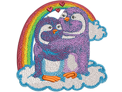 Embroidery Design: Rainbow Penguin Lovebirds Lg 4.51w X 4.49h