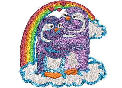 Embroidery Design: Rainbow Penguin Lovebirds Med 4.01w X 4.00h
