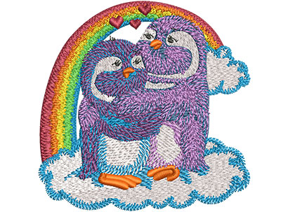 Embroidery Design: Rainbow Penguin Lovebirds Sm 3.51w X 3.50h