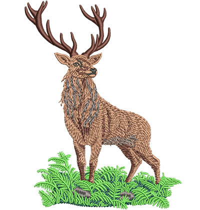 Embroidery Design: Red Deer Stag Med 3.80w X 5.04h