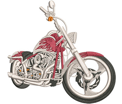 Embroidery Design: Red Flames Dress Chopper Lg 4.51w X 4.30h