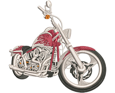 Embroidery Design: Red Flames Dress Chopper Med 4.01w X 3.82h
