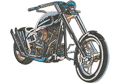 Embroidery Design: Sleek Black Chopper Sm 3.54w X 2.94h