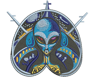 Embroidery Design: Alien Pilot Med 4.24w X 3.97h