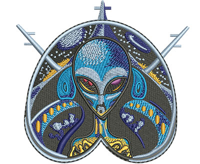 Embroidery Design: Alien Pilot Sm 3.74w X 3.51h