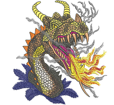 Embroidery Design: Fire Breathing Dragon Lg 5.35w X 5.89h