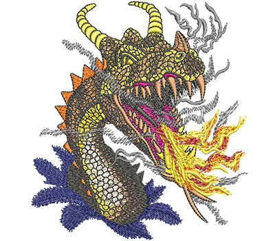 Embroidery Design: Fire Breathing Dragon Med 4.42w X 4.88h