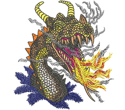Embroidery Design: Fire Breathing Dragon Sm 3.54w X 3.88h