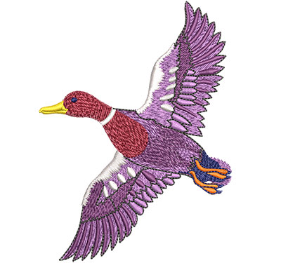 Embroidery Design: Flying Mallard Duck Lg 3.32w X 4.51h