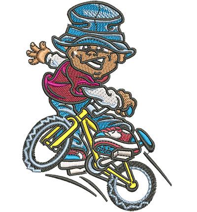 Embroidery Design: Boy On Bike Lg 2.86w X 4.03h