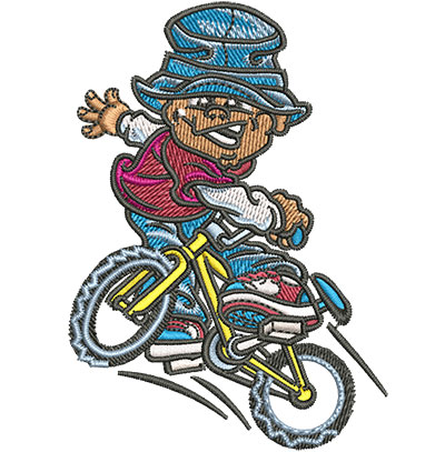 Embroidery Design: Boy On Bike Med 2.50w X 3.53h