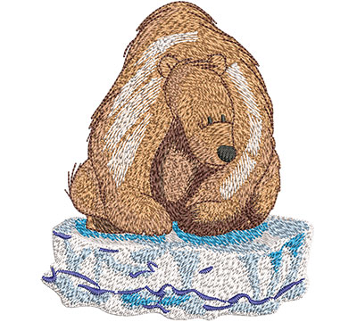 Embroidery Design: Polar Bear On Ice Lg 3.85w X 4.51h