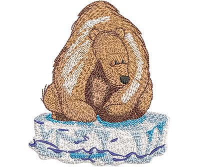 Embroidery Design: Polar Bear On Ice Med 3.42w X 4.01h