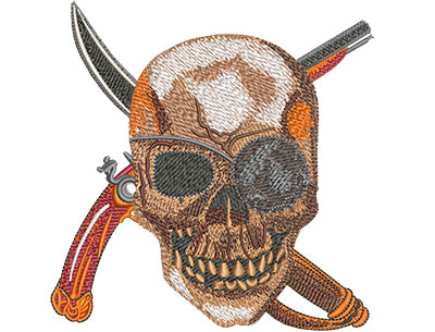 Embroidery Design: Pirate Skull Med 4.92w X 5.00h