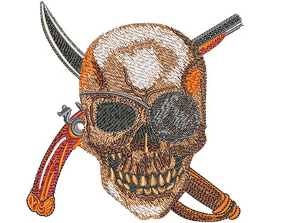 Embroidery Design: Pirate Skull Sm 3.94w X 4.01h