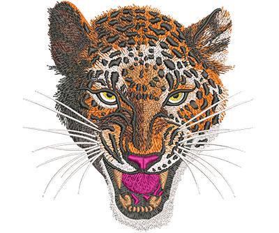 Embroidery Design: Leopard Snarl Lg 6.08w X 6.05h