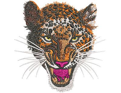 Embroidery Design: Leopard Snarl Sm 4.08w X 4.09h