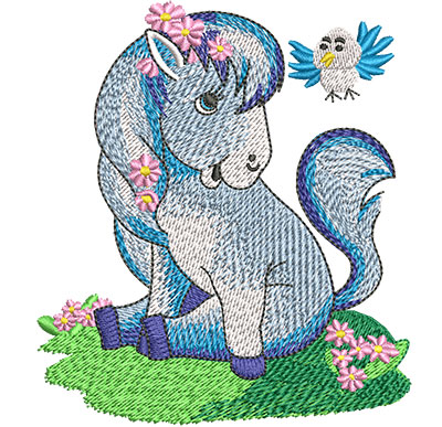 Embroidery Design: Little Pony With Bird Med 3.54w X 4.02h