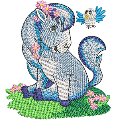 Embroidery Design: Little Pony With Bird Sm 3.10w X 3.52h