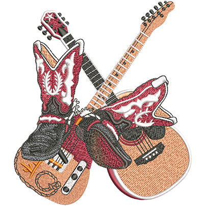 Embroidery Design: Country Boots And Guitars Lg 5.24w X 6.01h