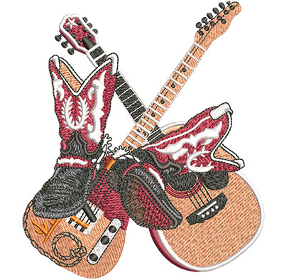 Embroidery Design: Country Boots And Guitars Med 4.37w X 5.01h