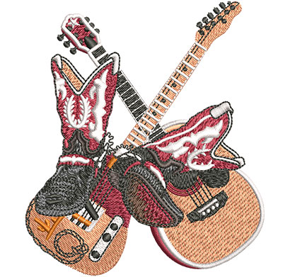 Embroidery Design: Country Boots And Guitars Sm 3.50w X 4.01h